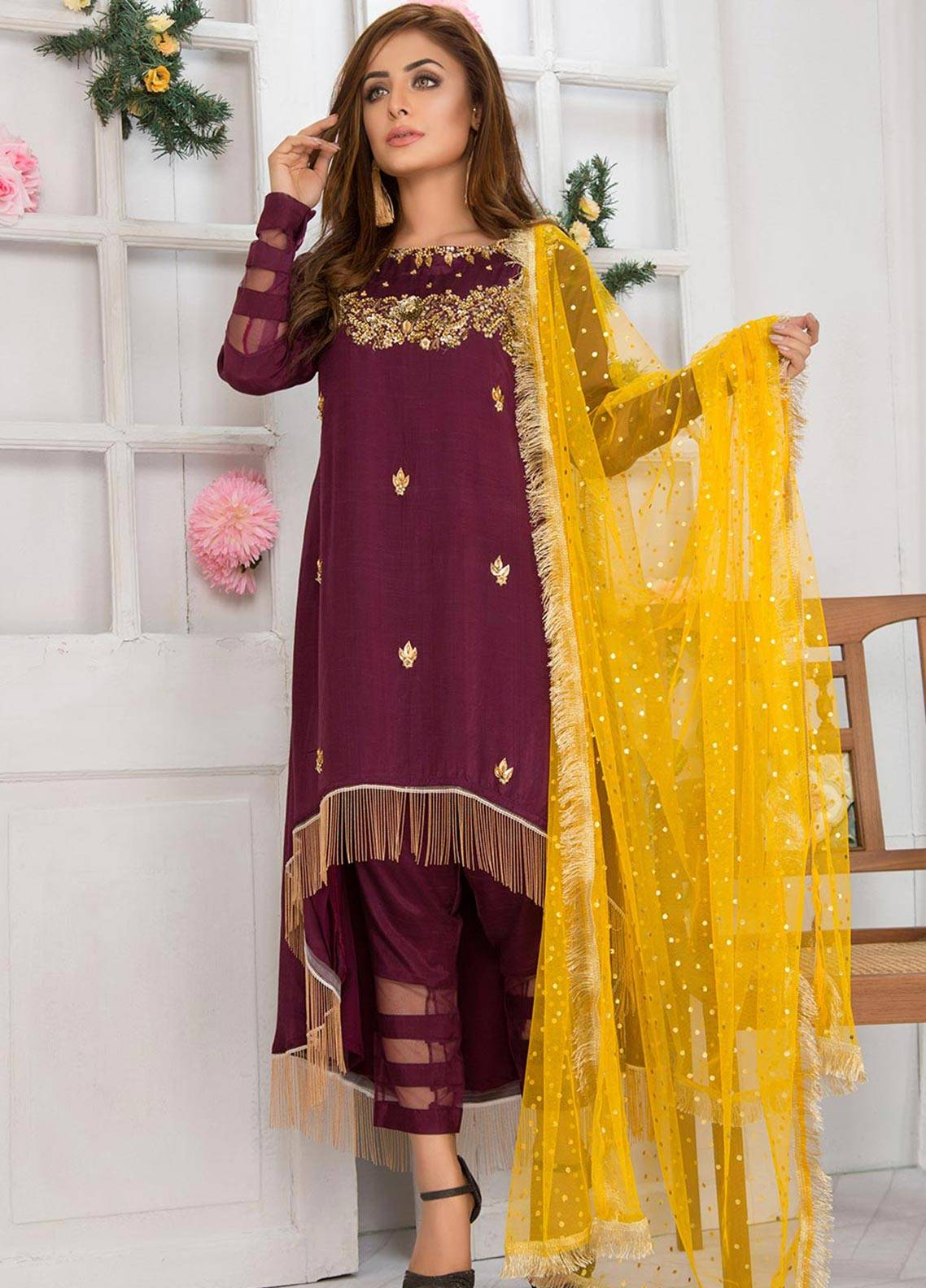 Chic Ophicial Embroidered  Stitched 3 Piece Suit CF13 PLUM FESTIVE