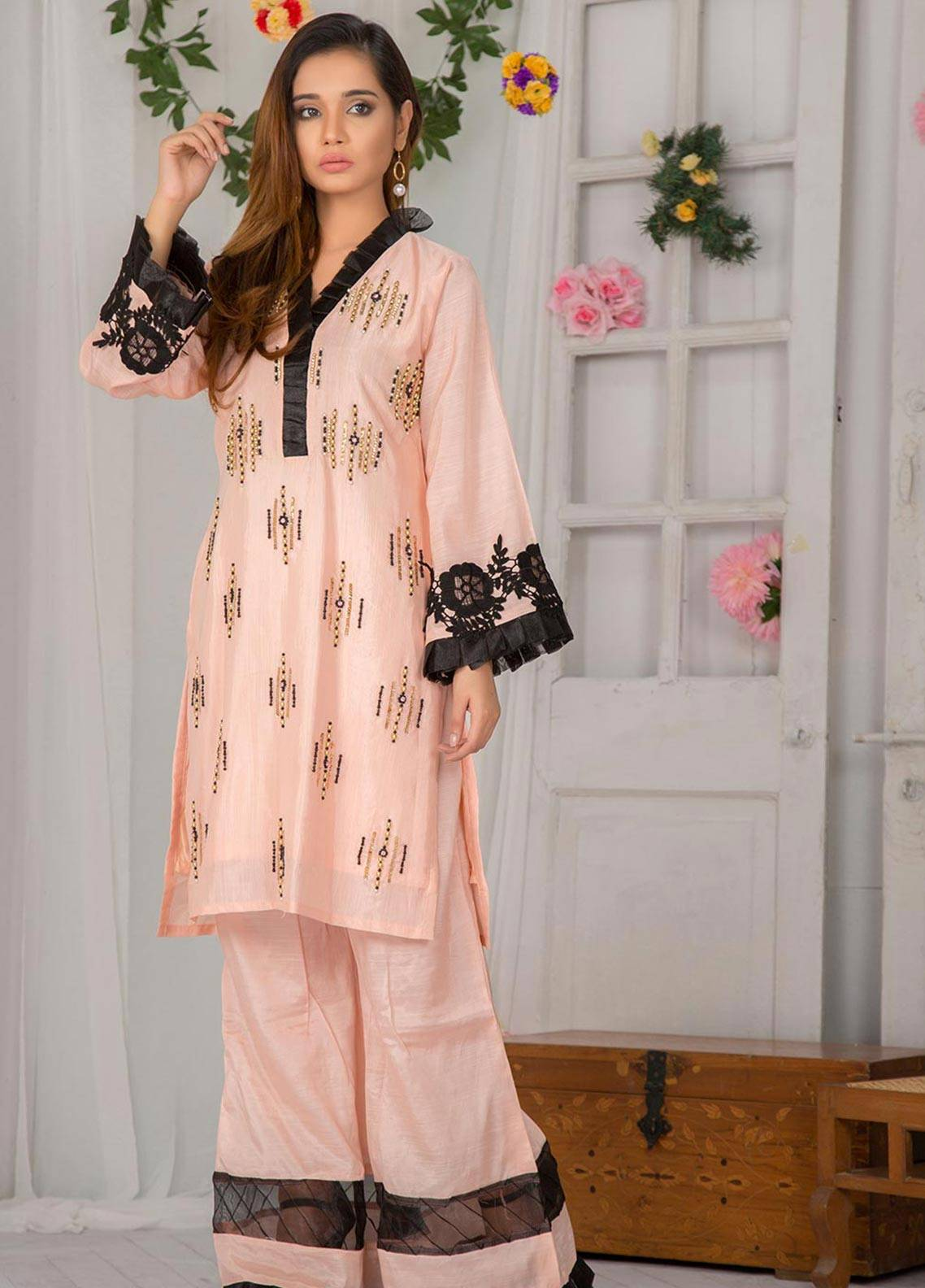 Chic Ophicial Embroidered Stitched 3 Piece Suit CF16 PEACH LOVE