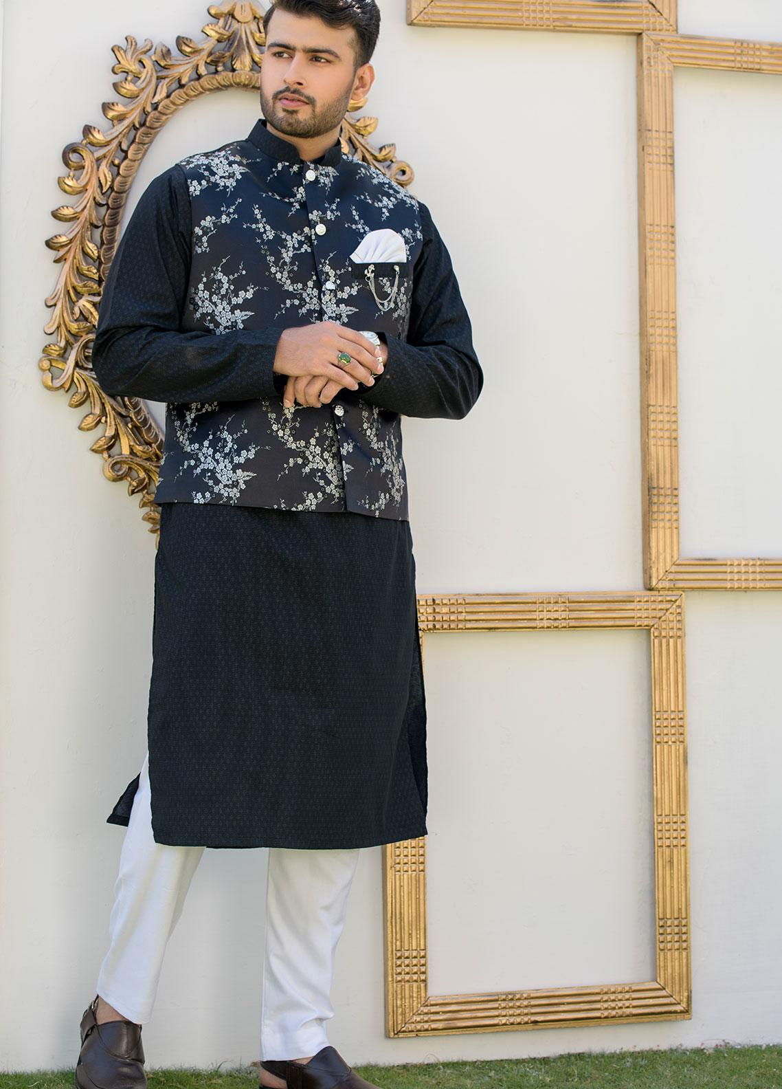 Chic Ophicial Cotton Formal Kurta Pajama with Waistcoat for Men - CH01 Silver Linnings