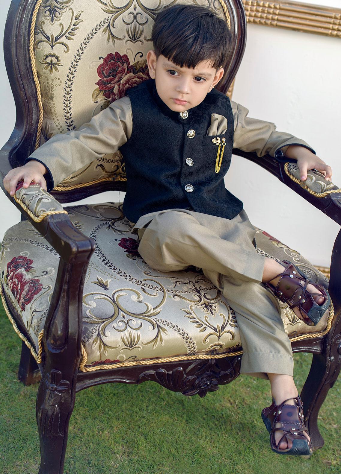Chic Ophicial Cotton Formal Boys Kurta Pajama with Waistcoat - CH10 Dusky Brown