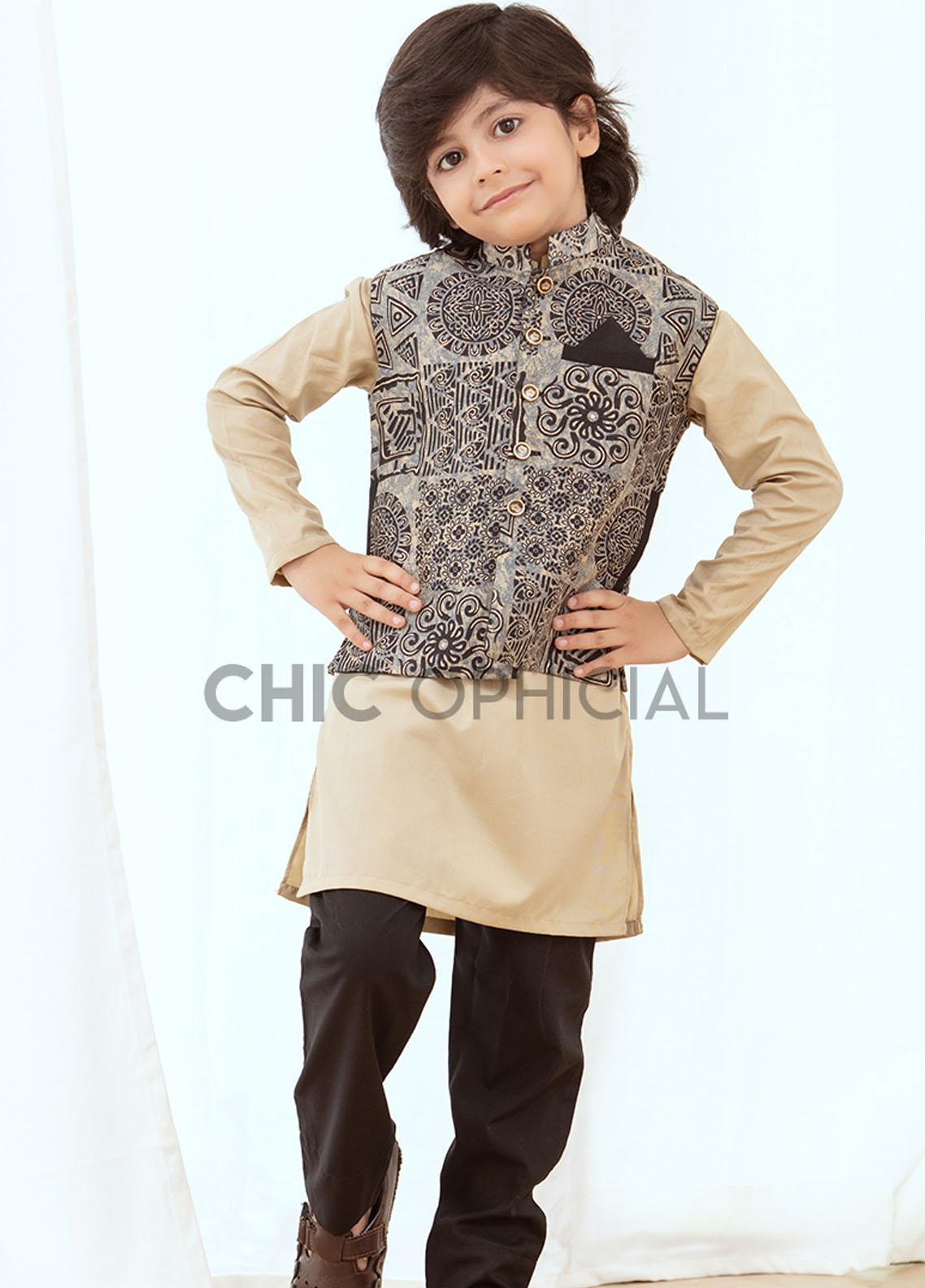 Chic Ophicial Wash N Wear Fancy 3 Piece for Boys -  Batik effect