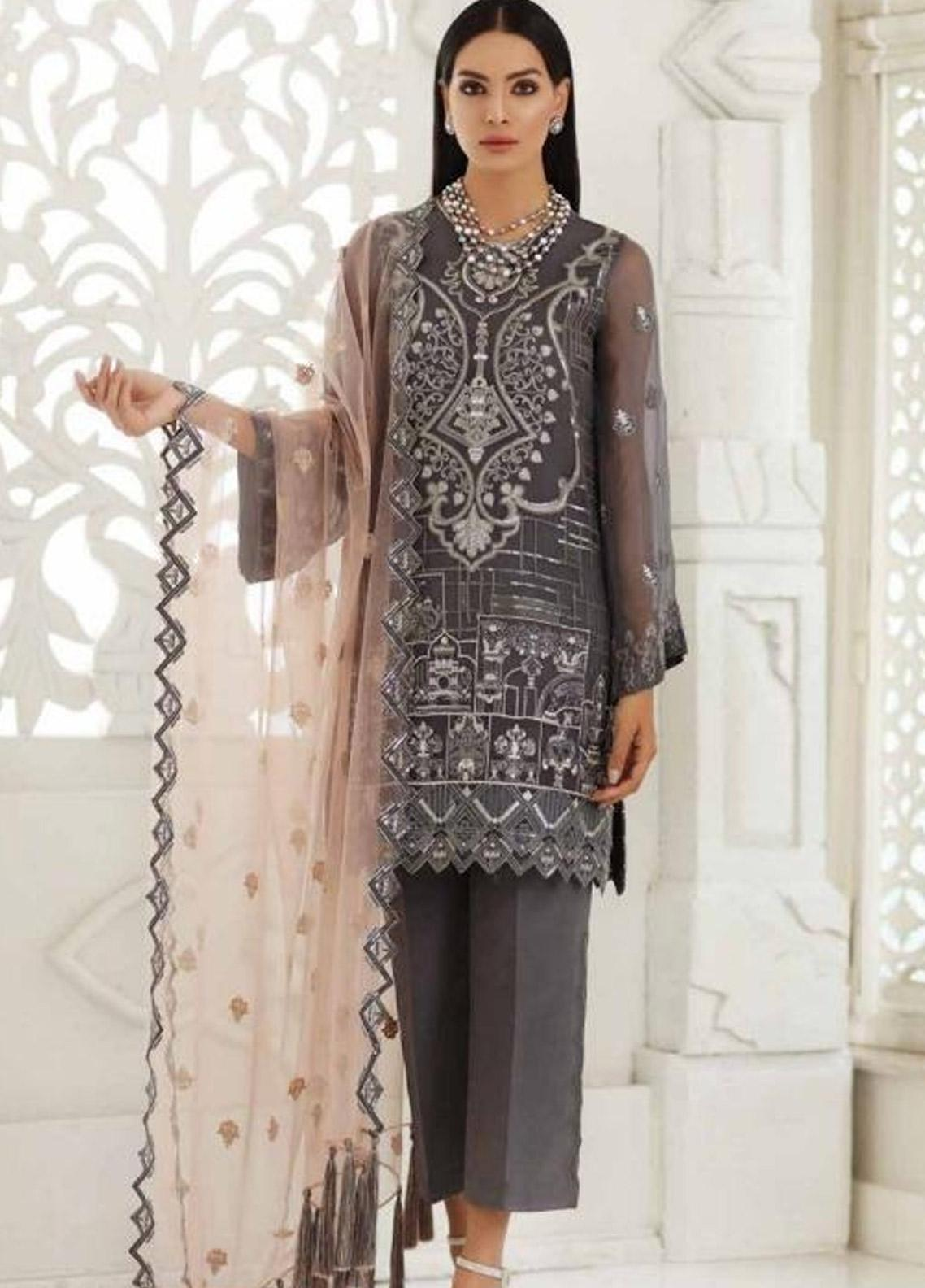 566f685b2e Chimmer by Charizma Embroidered Chiffon Unstitched 3 Piece Suit CRZ19-C3 19  - Festive Collection