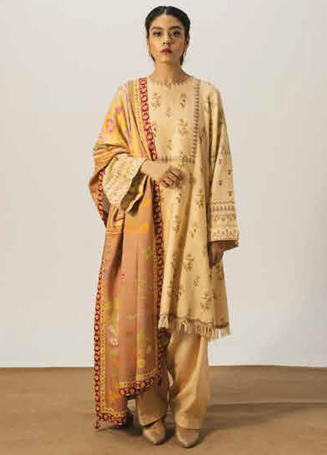 Coco By Zara Shahjahan Embroidered Linen Unstitched 3 Piece Suit CZS20W 07A - Winter Collection