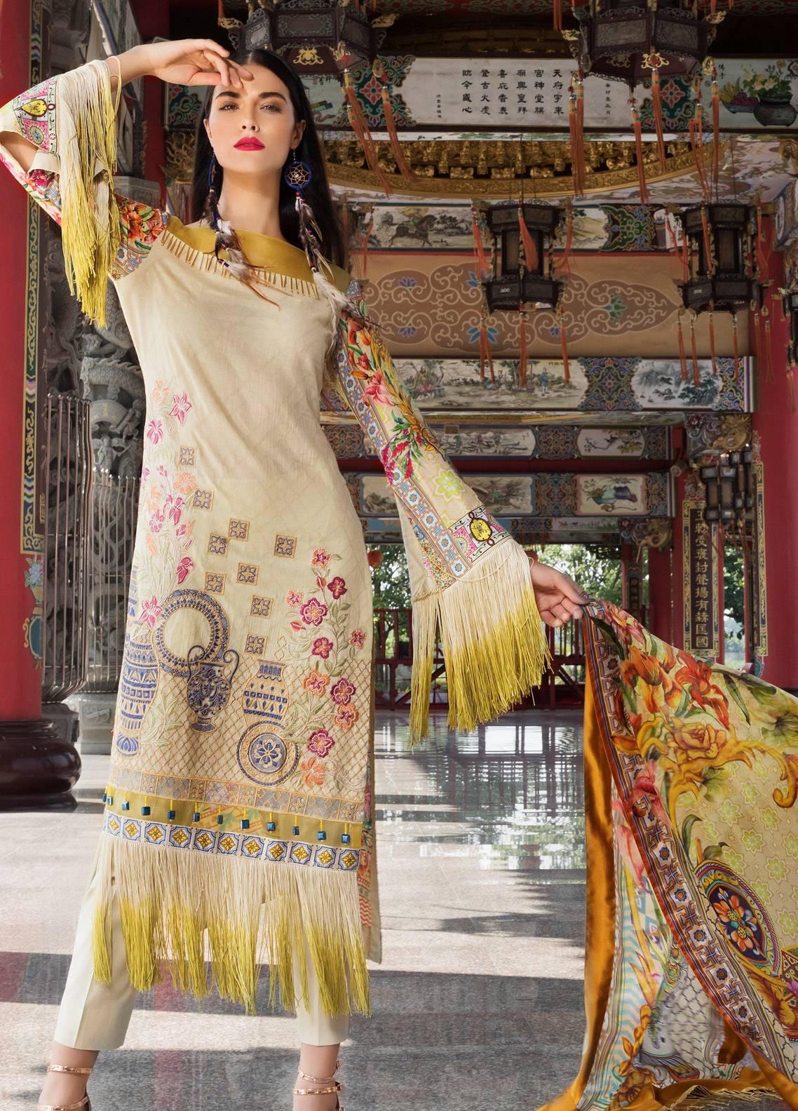 Coronation Embroidered Jacquard Unstitched 3 Piece Suit COR18E 08 - Festive Collection