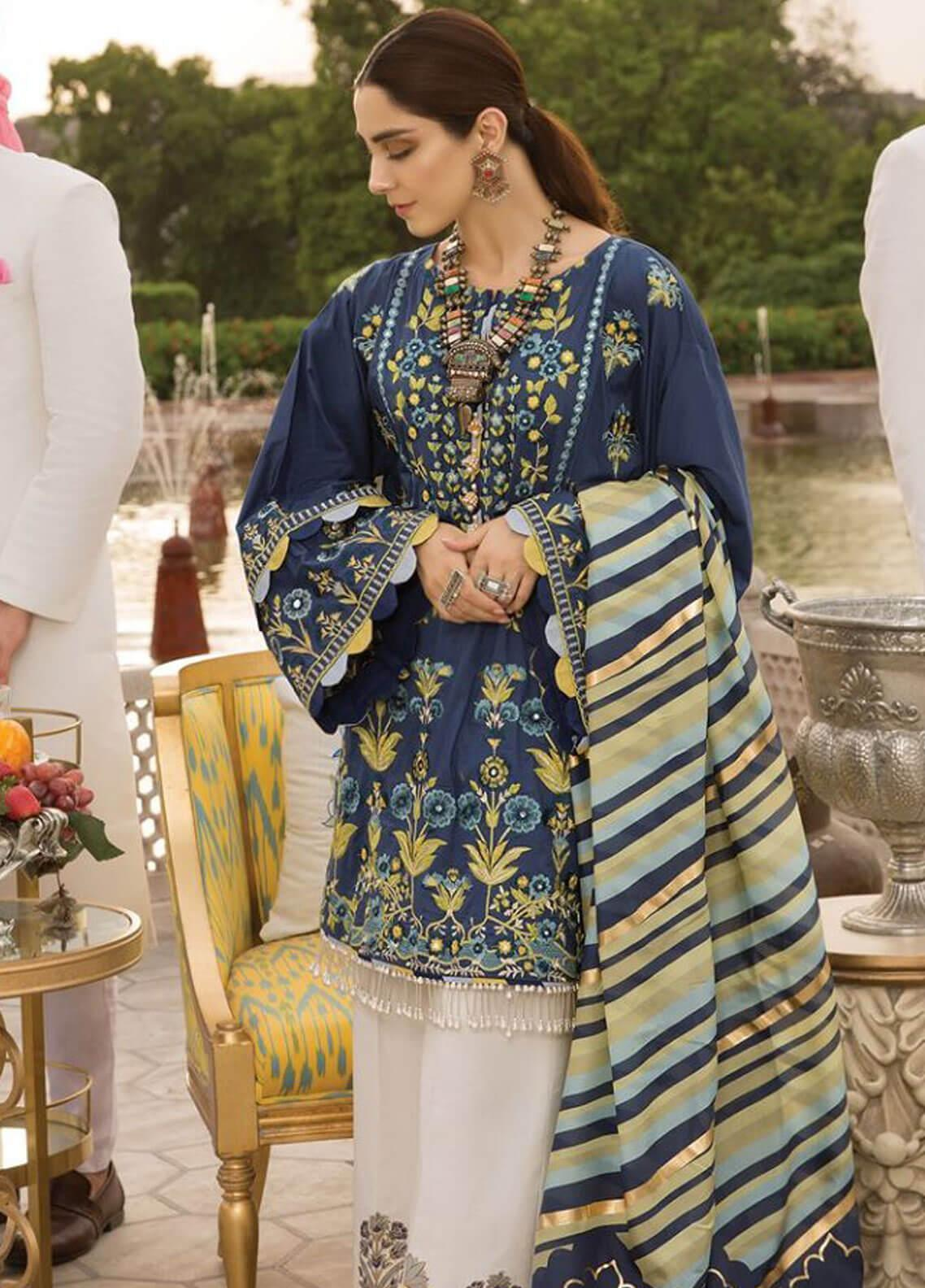 Crimson Embroidered Lawn Unstitched 3 Piece Suit CRM19F 3A SHISHEH - Festive Collection
