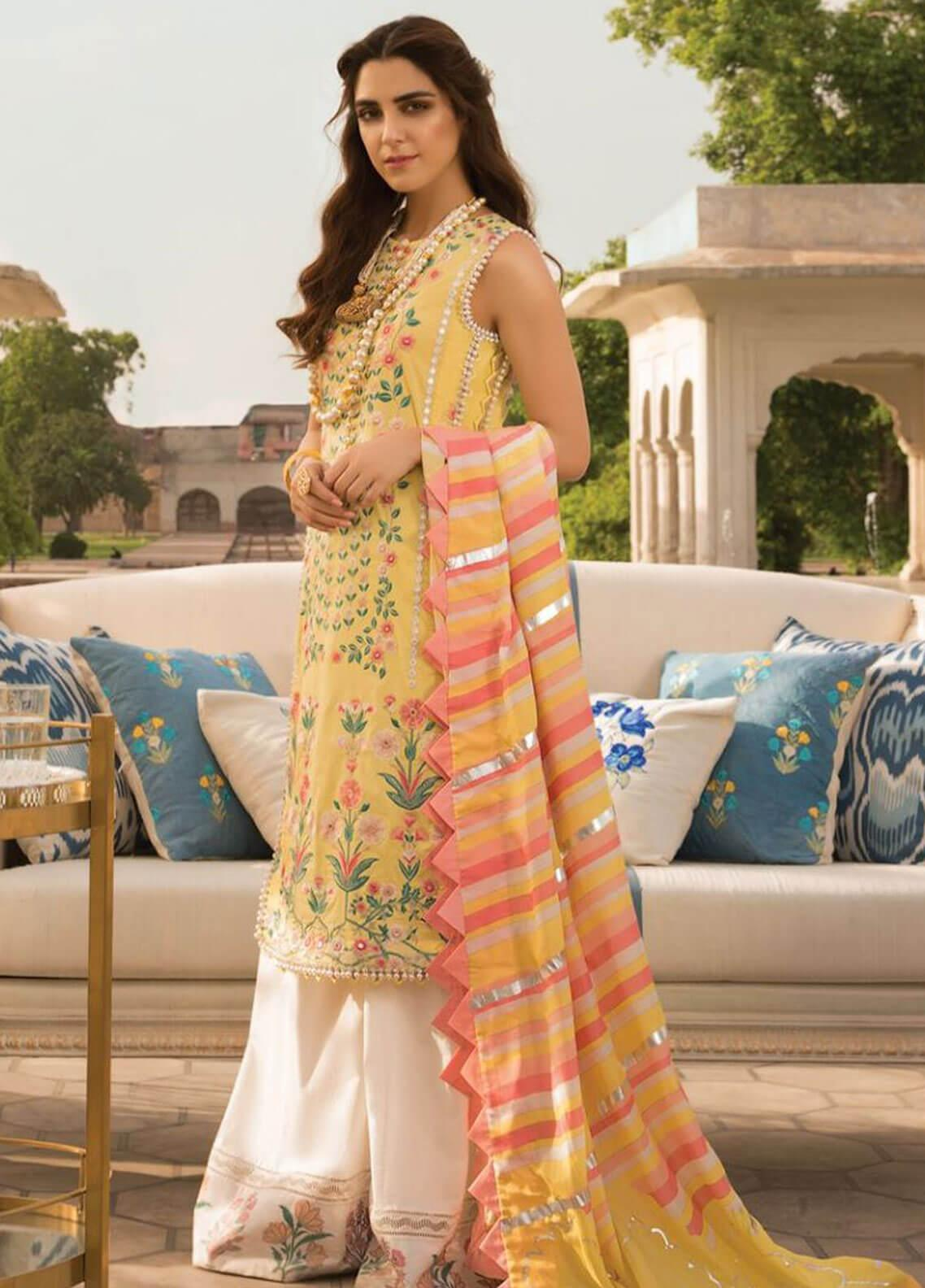 Crimson Embroidered Lawn Unstitched 3 Piece Suit CRM19F 3B SHISHEH - Festive Collection