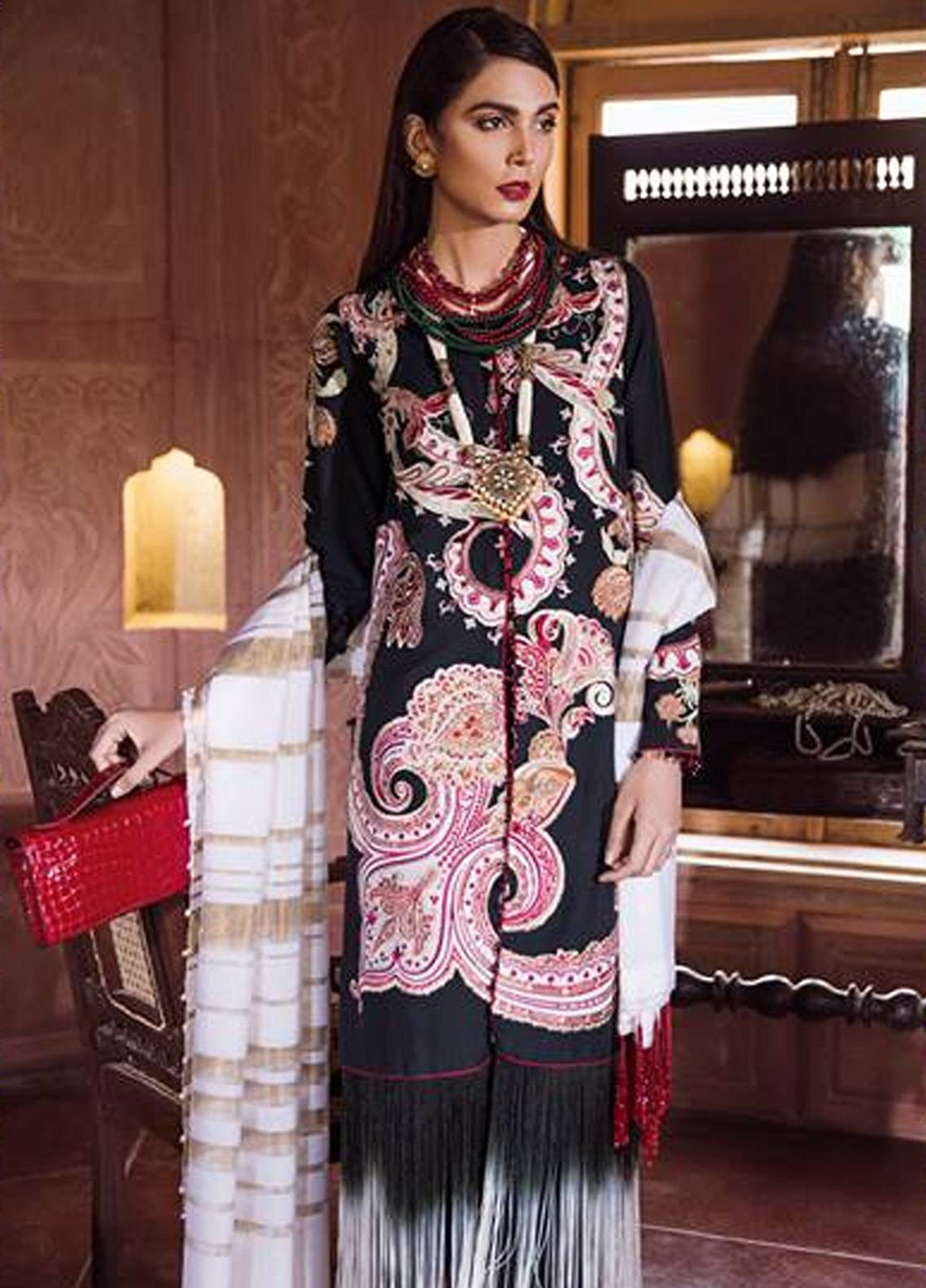 Crimson Embroidered Karandi Unstitched 3 Piece Suit CR18W 1A Kiyari - Sable - Winter Luxury Collection