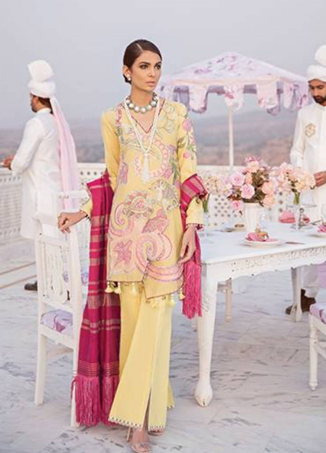 Crimson Embroidered Karandi Unstitched 3 Piece Suit CR18W 1B Kiyari - Yellow - Winter Luxury Collection