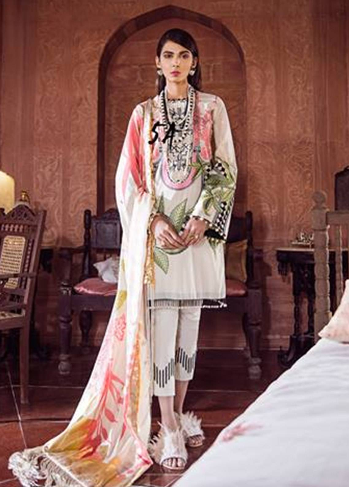 Crimson Embroidered Cambric Unstitched 3 Piece Suit CR18W 2A Varq - Snow - Winter Luxury Collection
