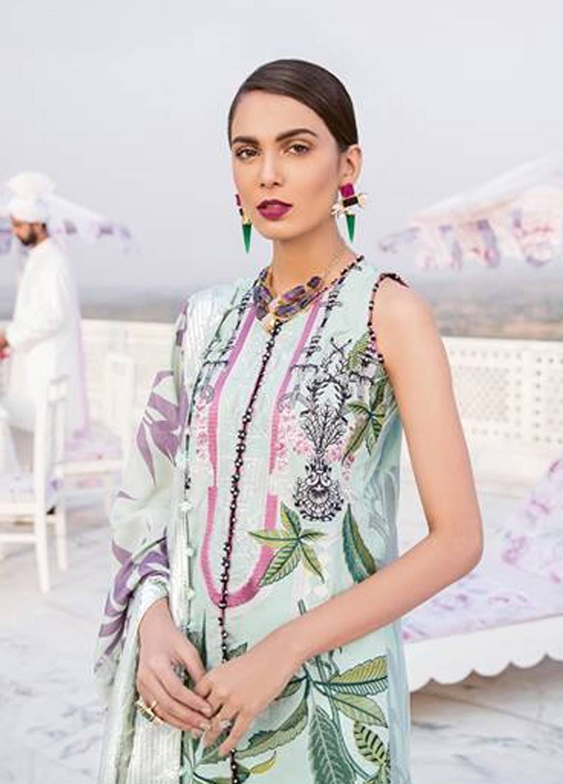 a6c798b897 Crimson Embroidered Cambric Unstitched 3 Piece Suit CR18W 2B Varq - Seafoam  - Winter Luxury Collection