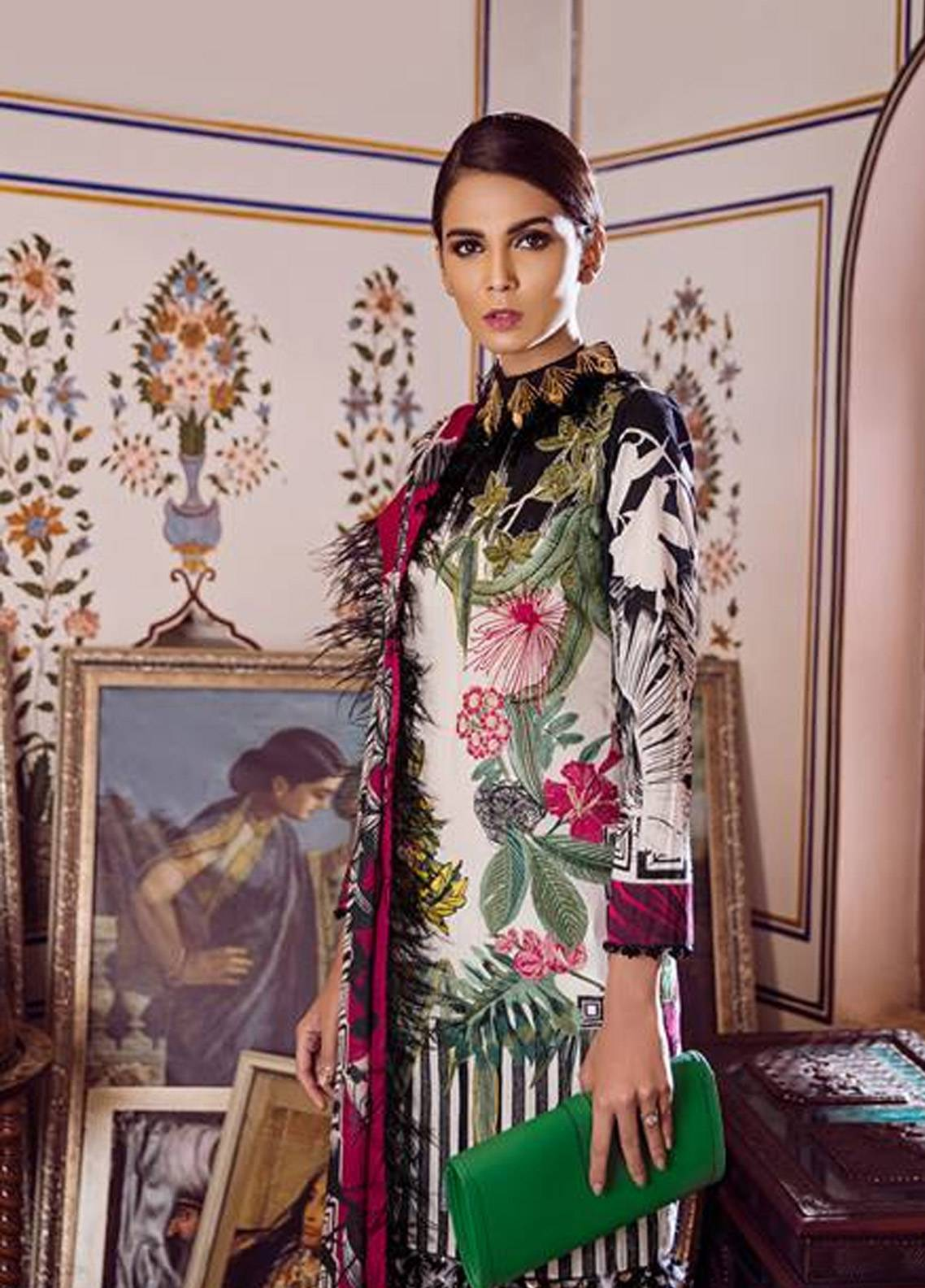 2f2c3d0f79 Crimson Embroidered Cambric Unstitched 3 Piece Suit CR18W 3B Ikat - White -  Winter Luxury Collection