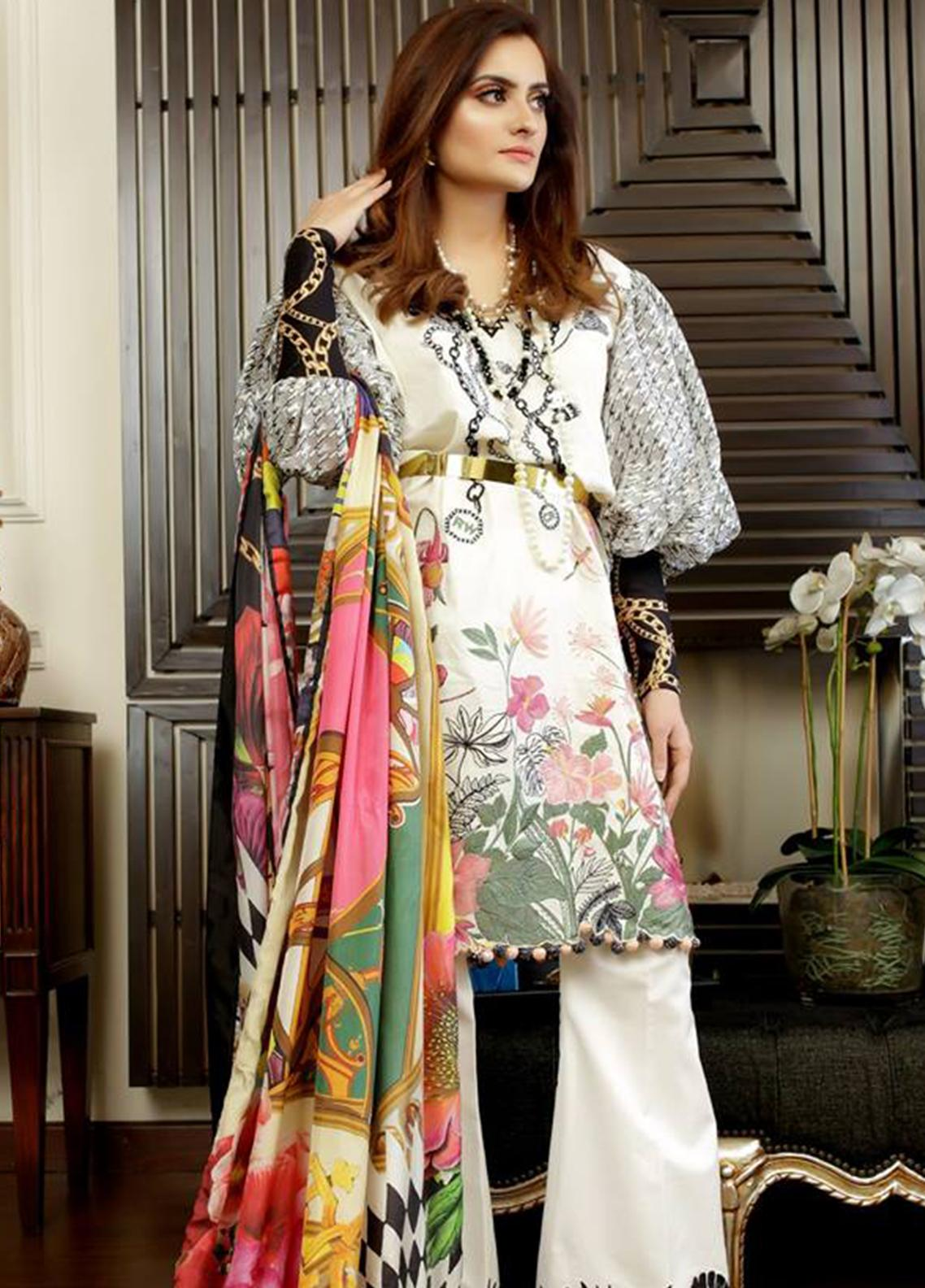 Crimson Embroidered Lawn Unstitched 3 Piece Suit CRM19L 9A - Spring / Summer Collection