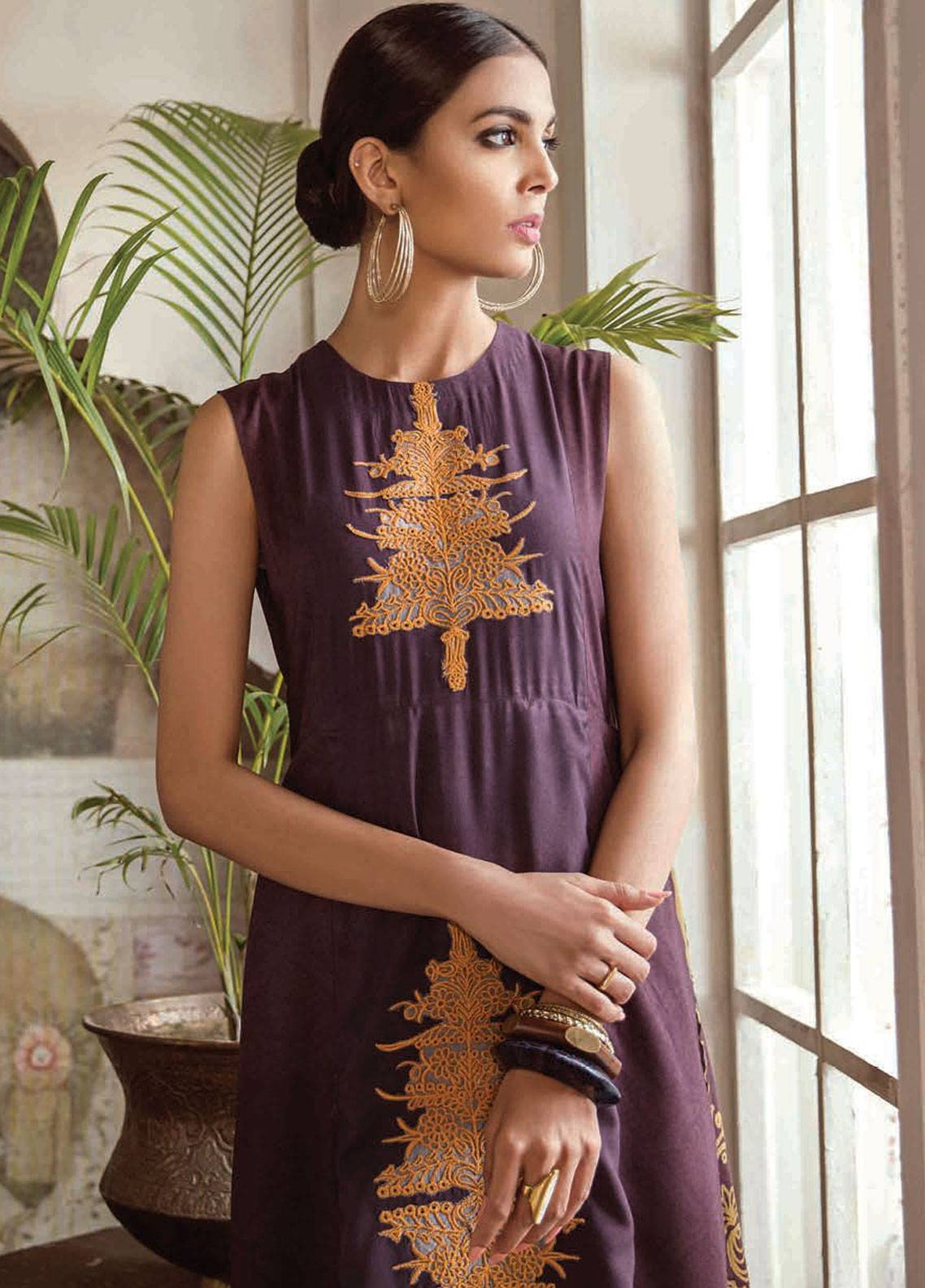 Cross Stitch Embroidered Linen Unstitched 2 Piece Suit CS18WL 14 Scarlet Glint - Fall Winter Collection