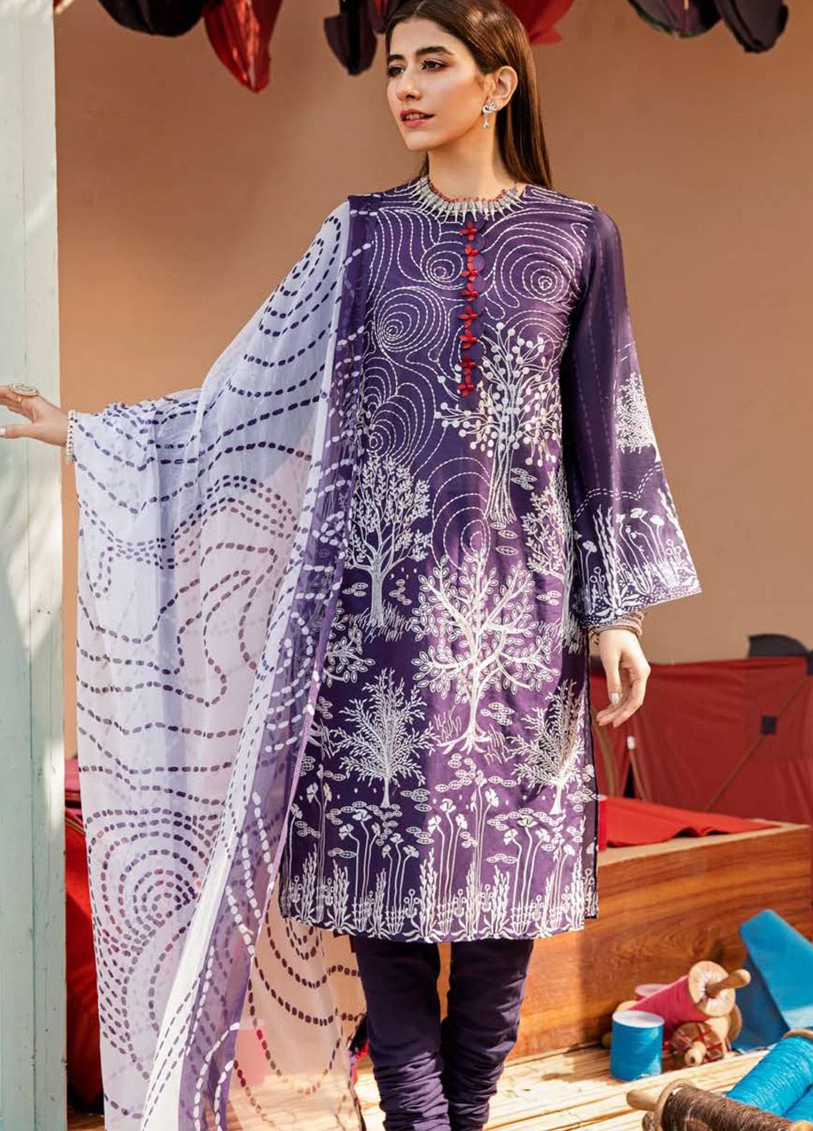 b6695089e0 Cross Stitch Embroidered Lawn Unstitched 3 Piece Suit CS19L 05 Mulberry  Stock - Spring / Summer Collection