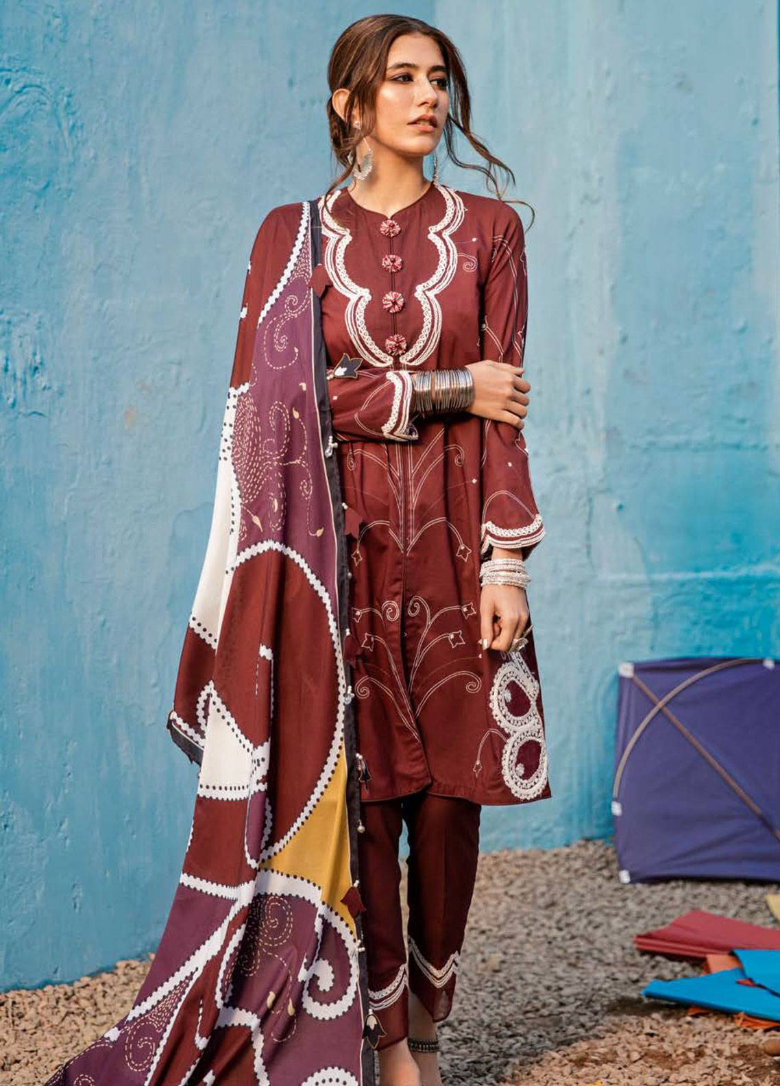 e5c54f01c0bb Cross Stitch Embroidered Lawn Unstitched 3 Piece Suit CS19L 08 Burgundy  curl - Spring / Summer Collection