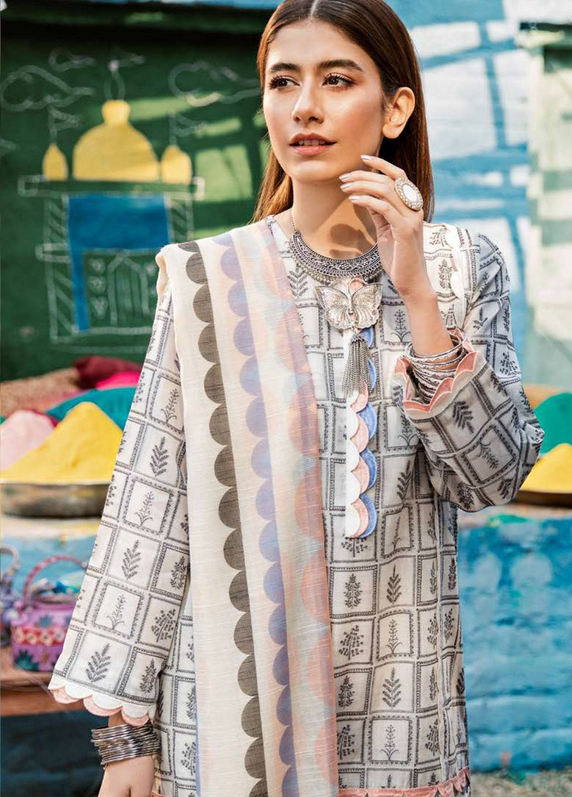 Cross Stitch Embroidered Jacquard Unstitched 3 Piece Suit CS19L 17 Oyster Pearl - Spring / Summer Collection