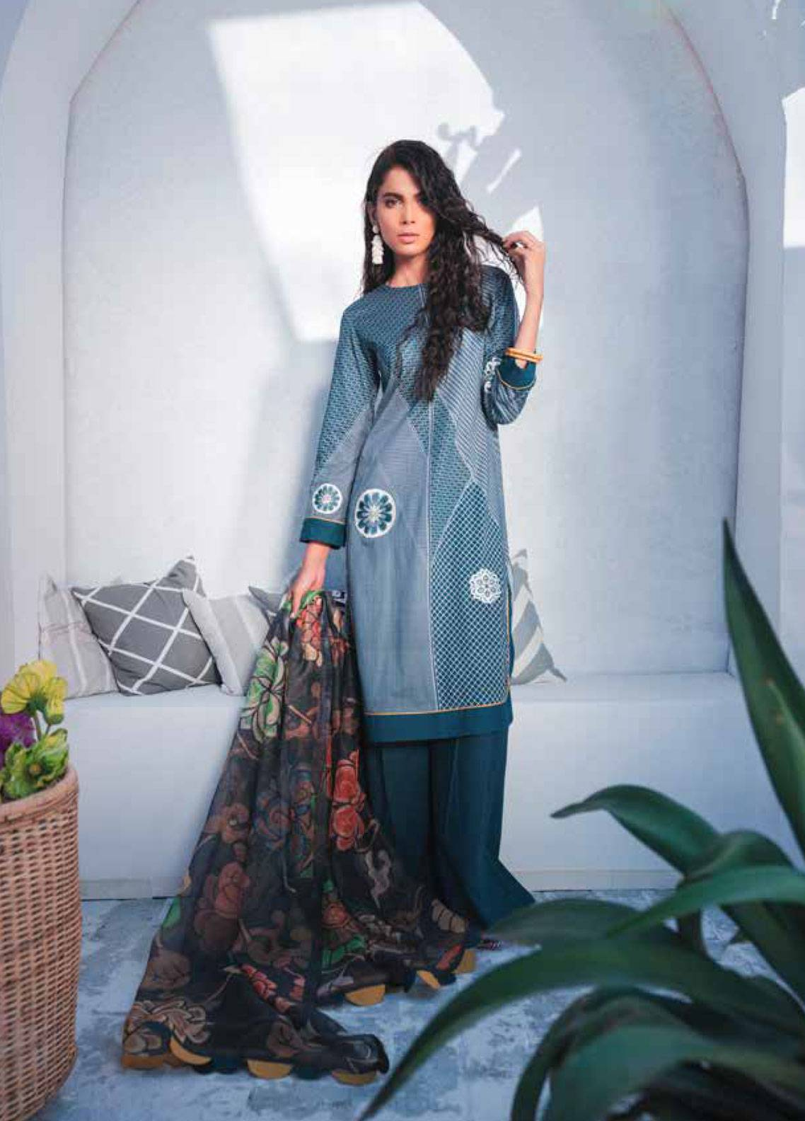 Cross Stitch Embroidered Lawn Unstitched 3 Piece Suit CS19-L2 02 ACHROMOUS SLASH - Spring / Summer Collection