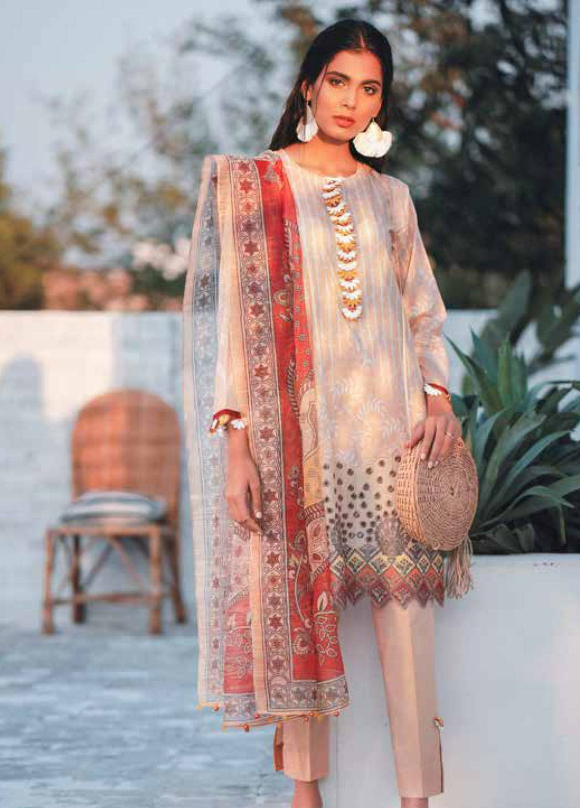 Cross Stitch Embroidered Lawn Unstitched 3 Piece Suit CS19-L2 04 CRIMSON ACRU - Spring / Summer Collection