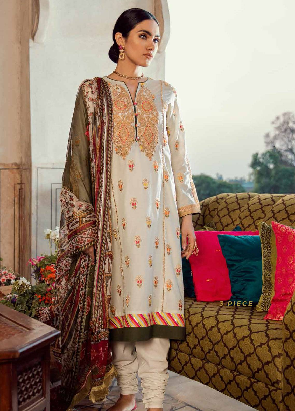 Cross Stitch Embroidered Lawn Unstitched 3 Piece Suit CS19E 02 FLEUR DE LIS - Eid Collection
