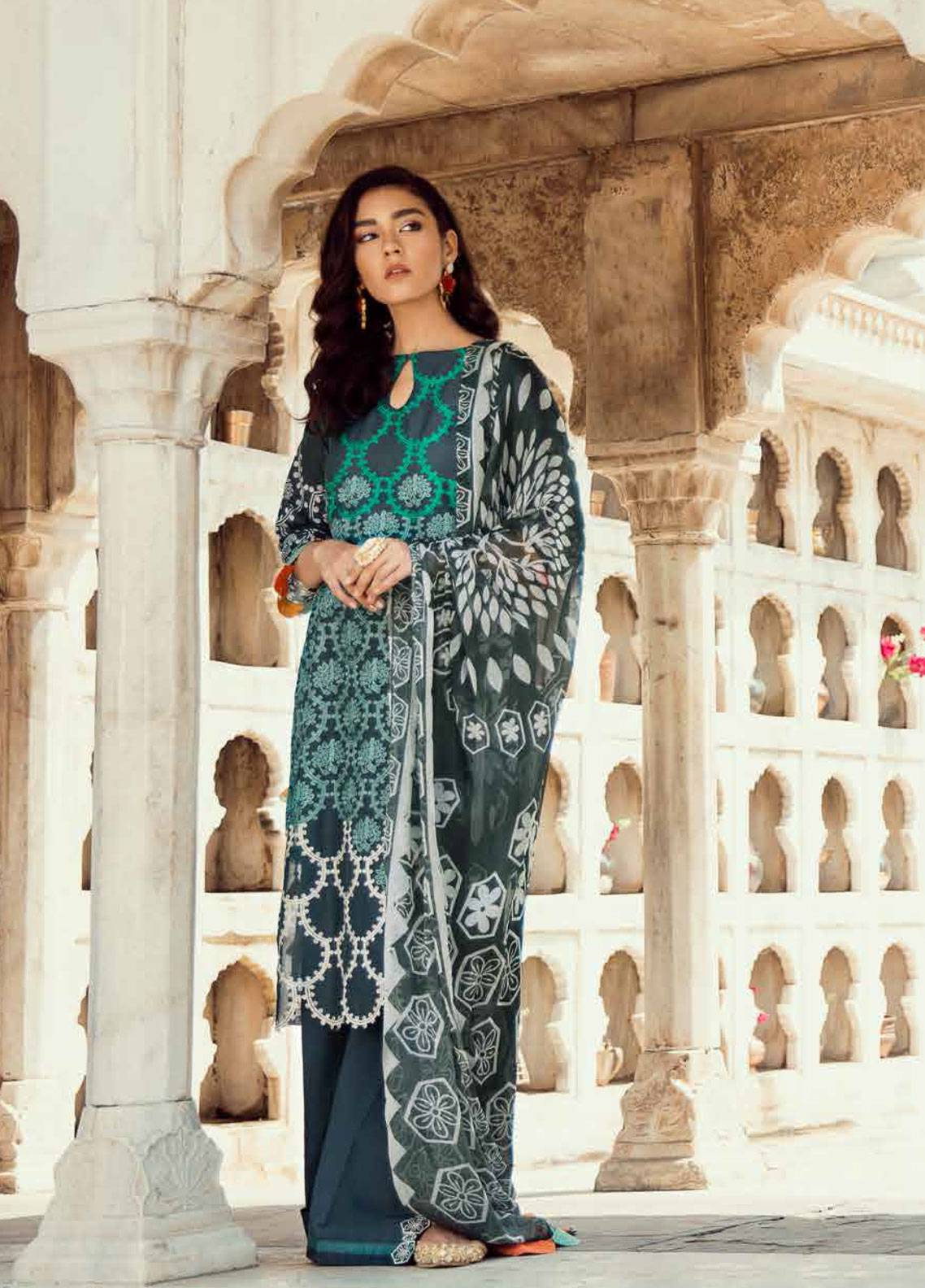 Cross Stitch Embroidered Lawn Unstitched 3 Piece Suit CS19E 06 VERDENT GLORY - Eid Collection
