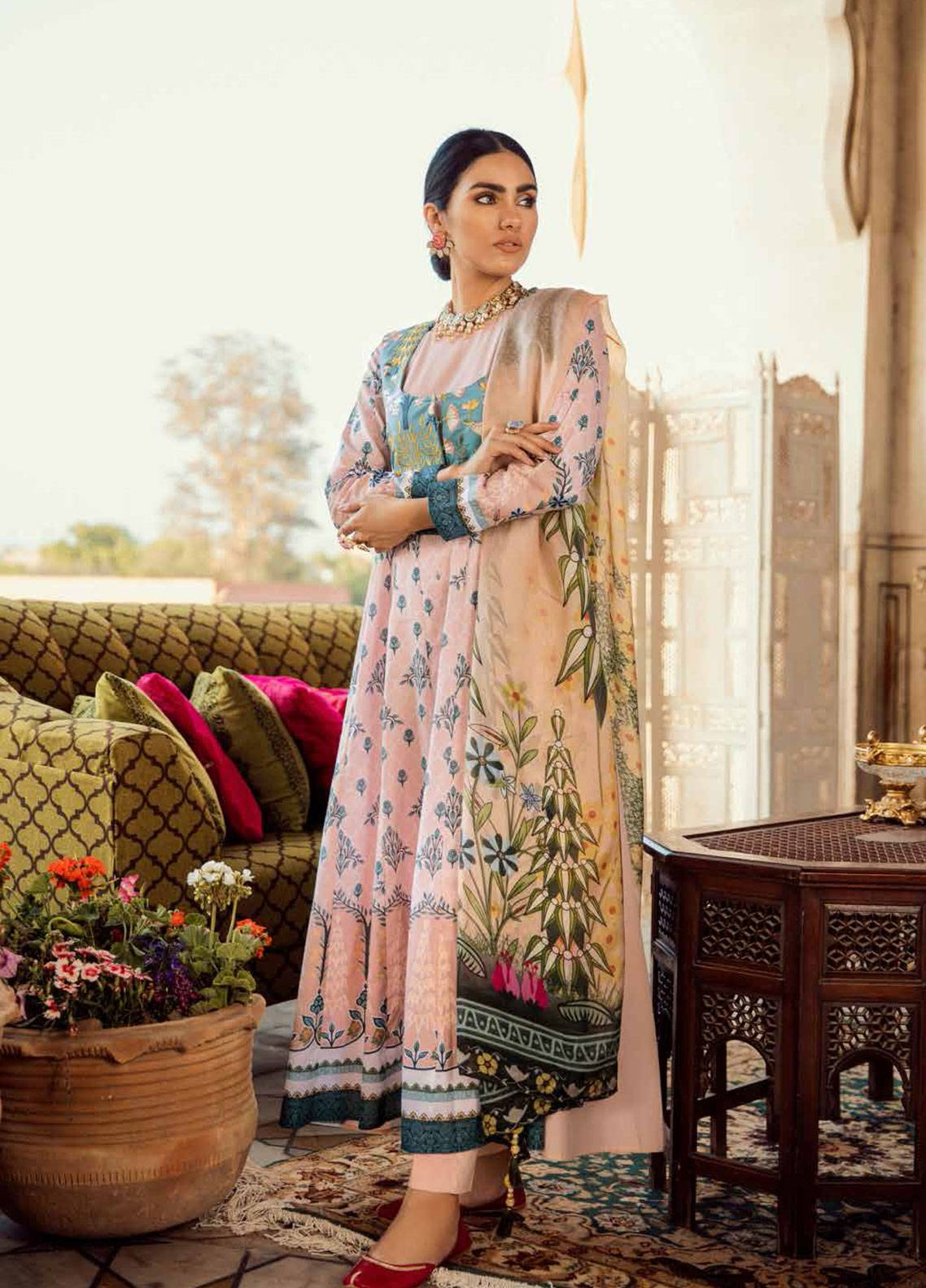Cross Stitch Embroidered Lawn Unstitched 3 Piece Suit CS19E 08 PEACH SILK - Eid Collection