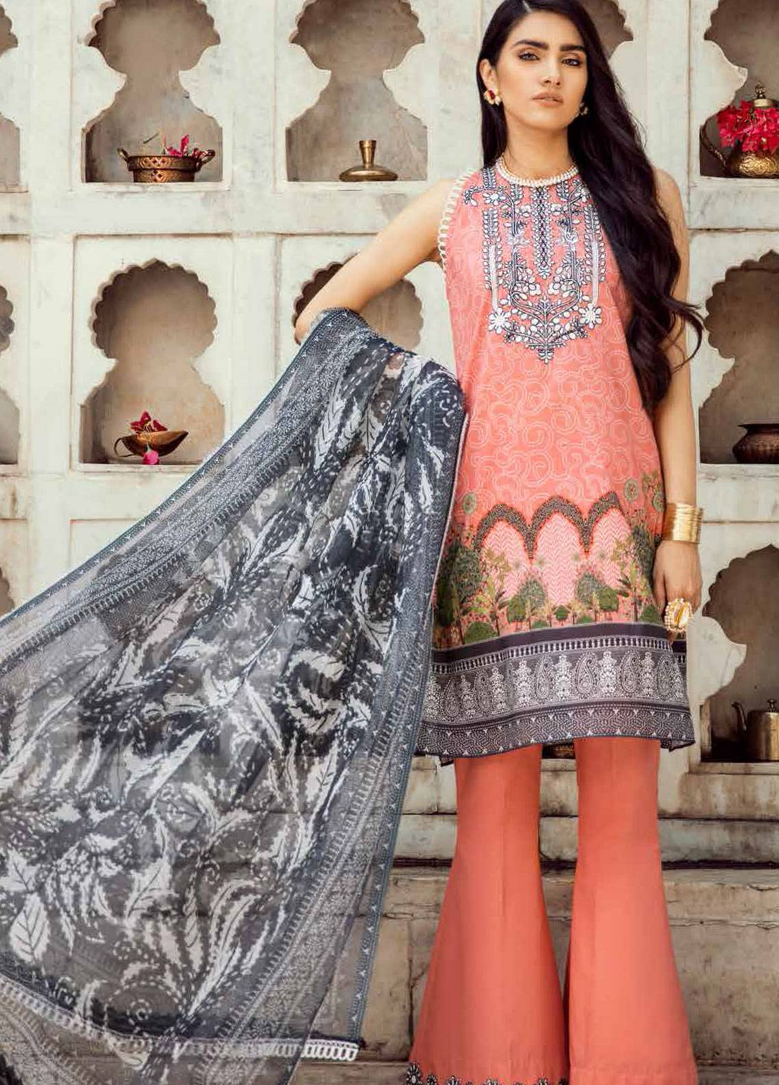 Cross Stitch Embroidered Lawn Unstitched 3 Piece Suit CS19E 09 KANTHA KARI - Eid Collection