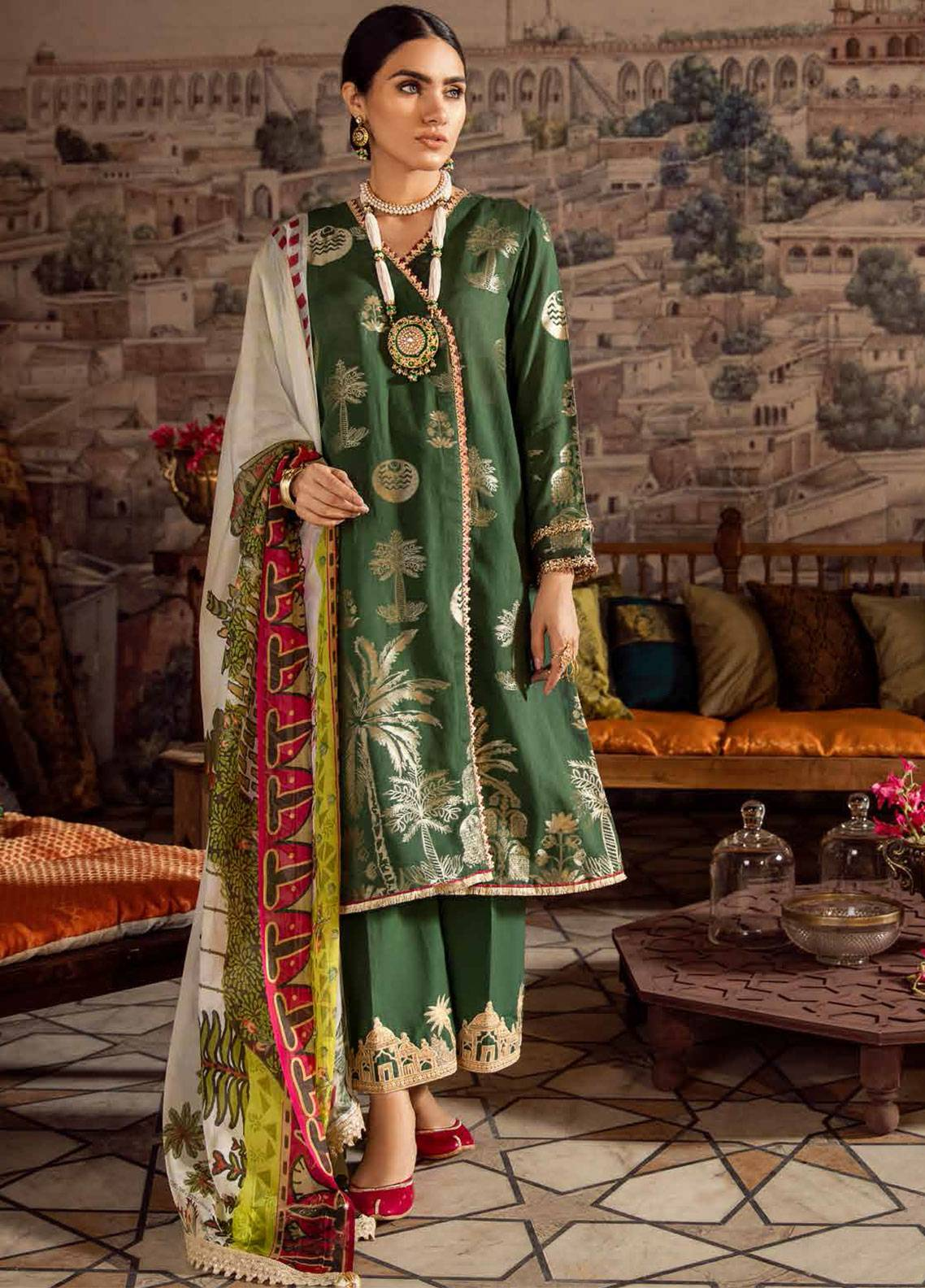 Cross Stitch Embroidered Jacquard Unstitched 3 Piece Suit CS19E 12 CHAND BALI - Eid Collection