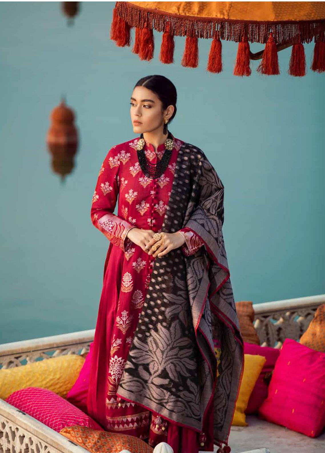 fecd5b4e3f Cross Stitch Embroidered Jacquard Unstitched 3 Piece Suit CS19E 13 CHINAR  BAGH - Eid Collection