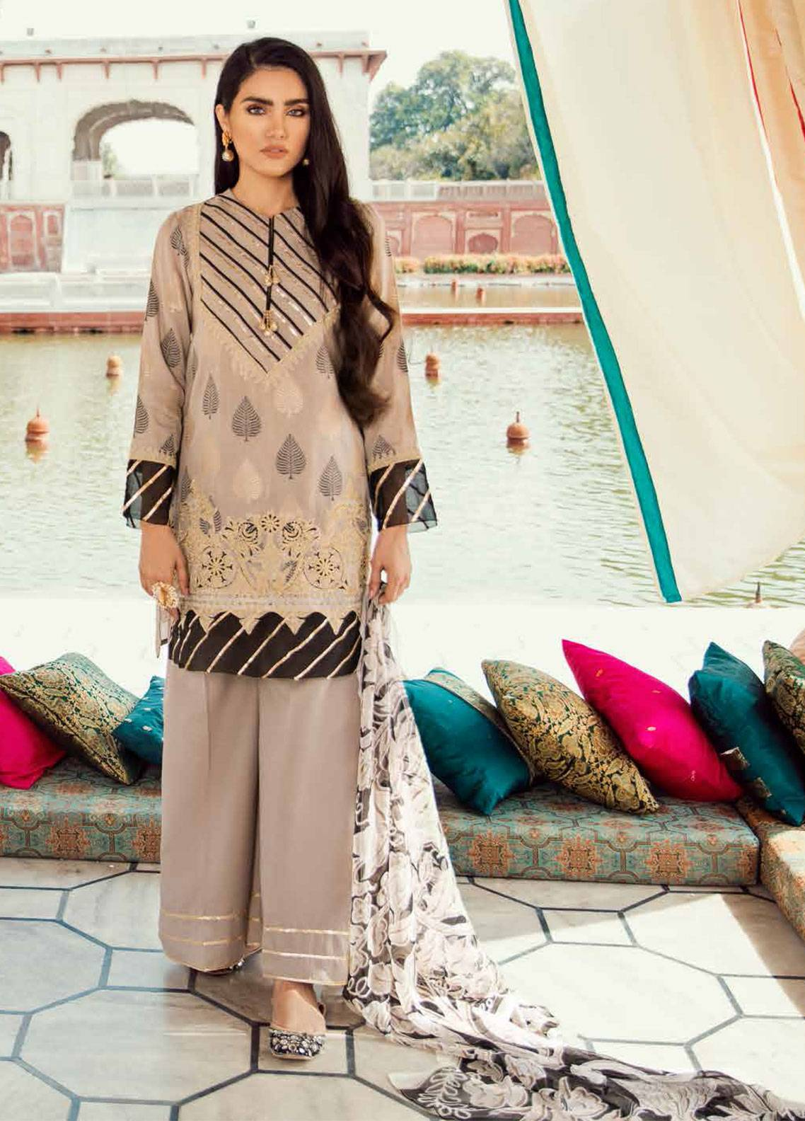 Cross Stitch Embroidered Jacquard Unstitched 3 Piece Suit CS19E 15 BARG-E-BAHAR - Eid Collection