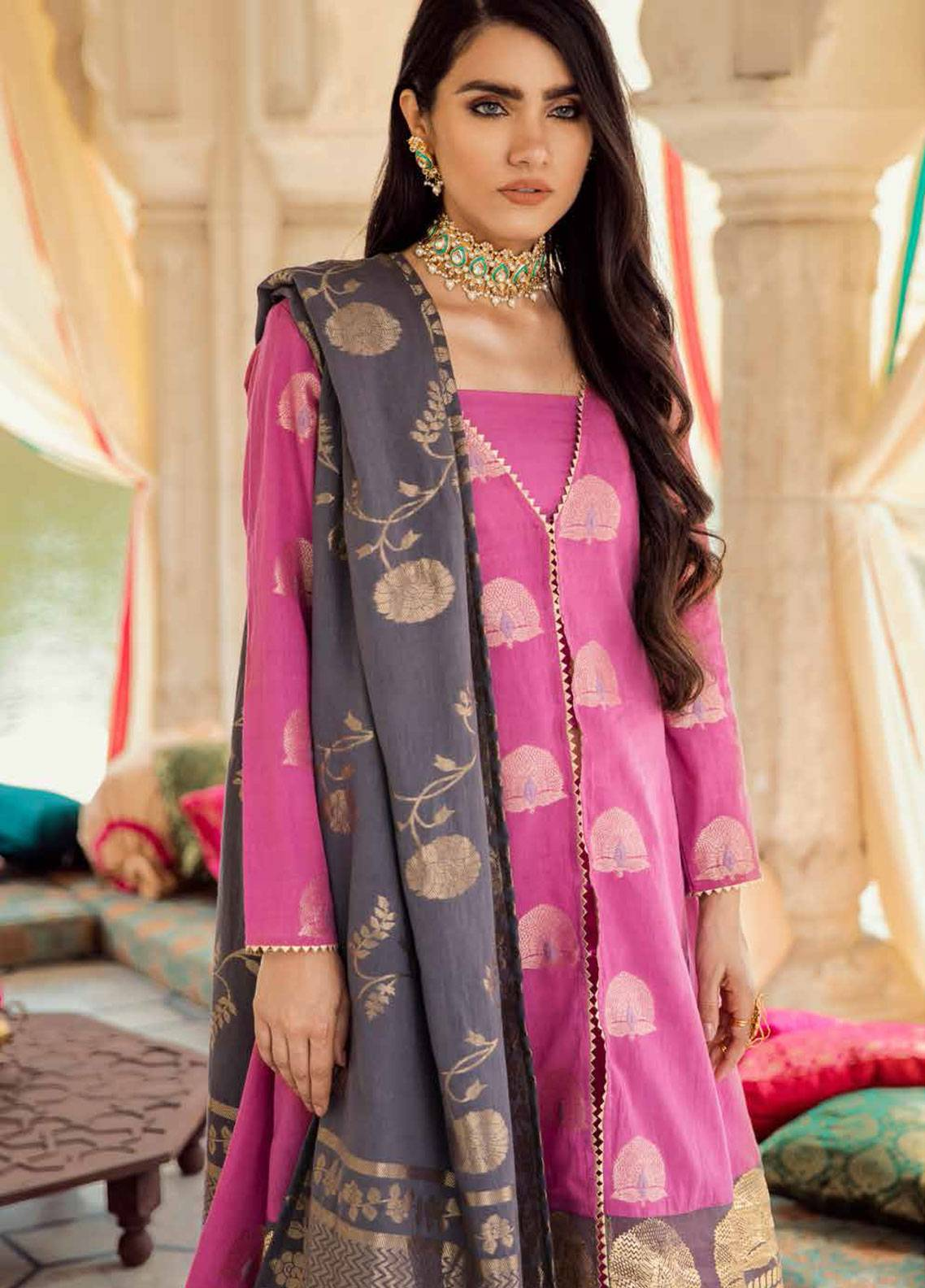Cross Stitch Embroidered Jacquard Unstitched 3 Piece Suit CS19E 19 GUL AWAYZ - Eid Collection