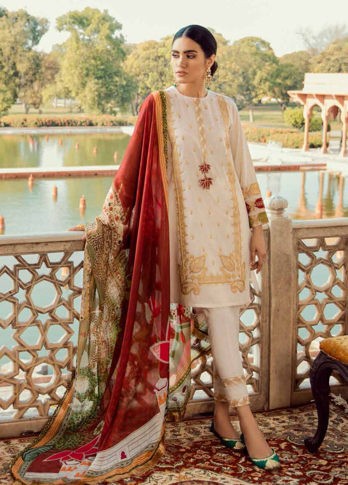 Cross Stitch Embroidered Cotton Unstitched 3 Piece Suit CS19E 21 MUGHAL DREAM - Eid Collection