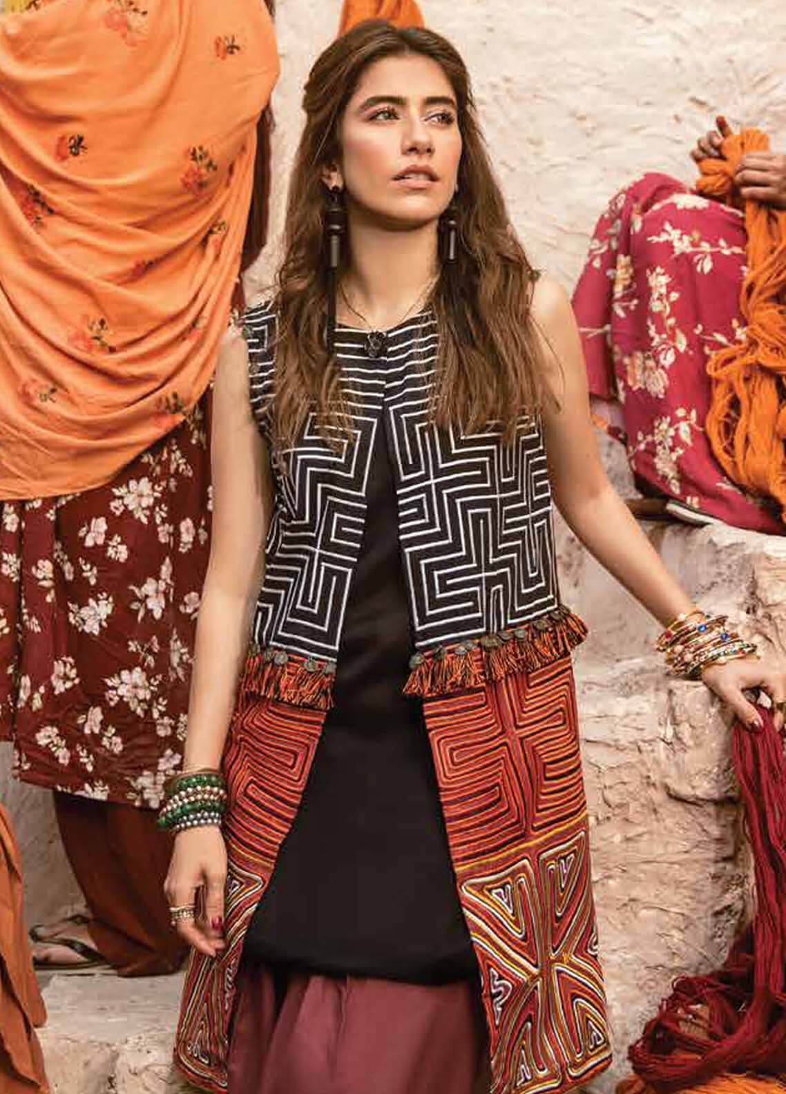 Cross Stitch Embroidered Cotton Satin Unstitched 2 Piece Suit CS18CS PERUVIAN ECHO 03 - Modern Nomad Collection