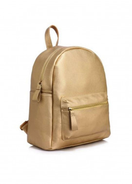Leesun London Soft Faux Leather Backpack Bags  for Unisex  Gold with Plain Texture