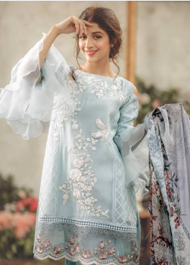 Noor By saadia asad Embroidered Lawn Unstitched 3 Piece Suit SA18L 12 SNOW FLAKE - Luxury Collection