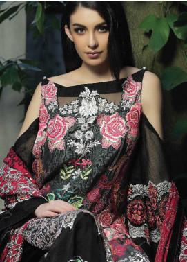 ZUNUJ Embroidered Cotton Net Unstitched 3 Piece Suit ZJ18C 01