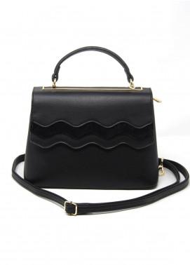 Susen PU Leather Satchels Bag for Women - Black with Plain Texture