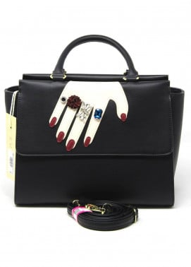 Susen PU Leather Satchels Bag for Women - Black with Pearl Style