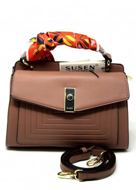 Susen PU Leather Satchels Bag for Women - Brown with Stripes