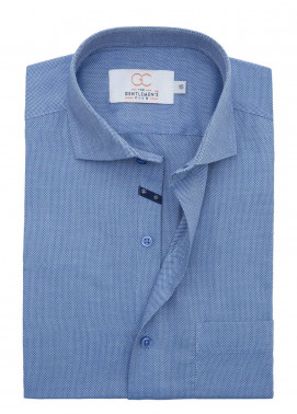 The Gentlemen's Club Cotton Formal Men Shirts - Blue White Label 4073 - 17.5