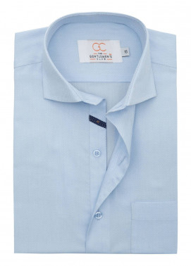 The Gentlemen's Club Cotton Formal Men Shirts - Sky Blue White Label 4084 - 17.5