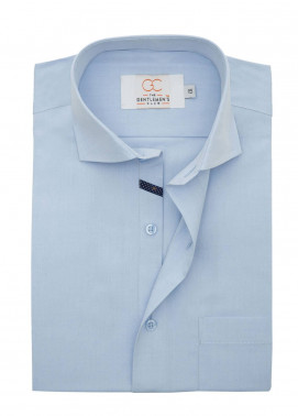 The Gentlemen's Club Cotton Formal Shirts for Men - Sky Blue White Label 4085 - 17.5