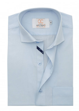 The Gentlemen's Club Cotton Formal Men Shirts - Sky Blue White Label 4086 - 17.5