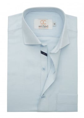 The Gentlemen's Club Cotton Formal Shirts for Men - Sky Blue White Label 4087 - 17.5