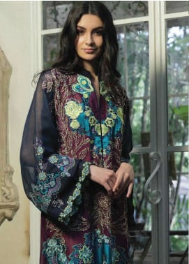 ZUNUJ Embroidered Cotton Net Unstitched 3 Piece Suit ZJ18C 02