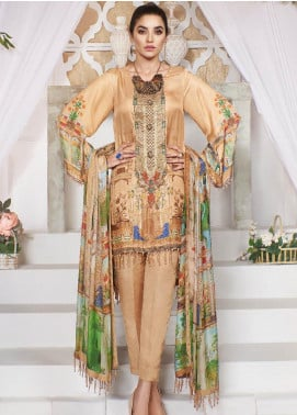 A-MEENAH Embroidered Charmeuse Silk Unstitched 3 Piece Suit AME20CS GUL-REAZ - Winter Collection