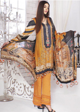 A-MEENAH Embroidered Charmeuse Silk Unstitched 3 Piece Suit AME20CS JAHAN-ARA - Winter Collection