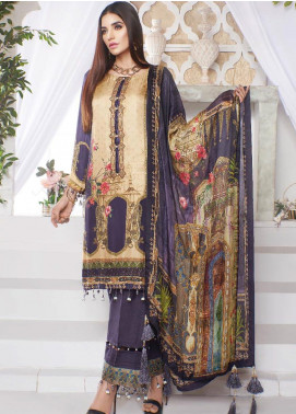 A-MEENAH Embroidered Charmeuse Silk Unstitched 3 Piece Suit AME20CS PARISA - Winter Collection