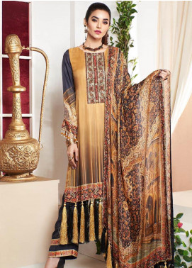 A-MEENAH Embroidered Charmeuse Silk Unstitched 3 Piece Suit AME20CS TELA - Winter Collection