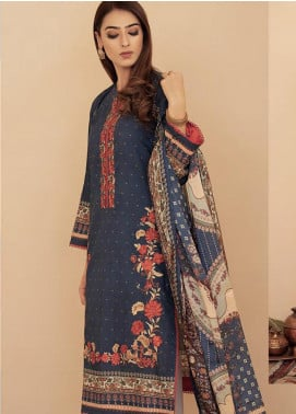 Aabyaan Embroidered Lawn Unstitched 3 Piece Suit AB20FL 10 Mavi - Summer Collection