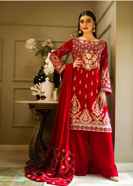 Aamna Aqeel Embroidered Velvet Unstitched 3 Piece Suit AA18V 02 Retro Amour - A Velvet Romance